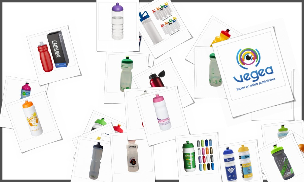 Gourdes de vélos et bidons cyclistes personnalisables à votre effigie avec un logo, un texte ou une image | Grossiste et fabrication d'objets publicitaires et cadeaux d'entreprise
