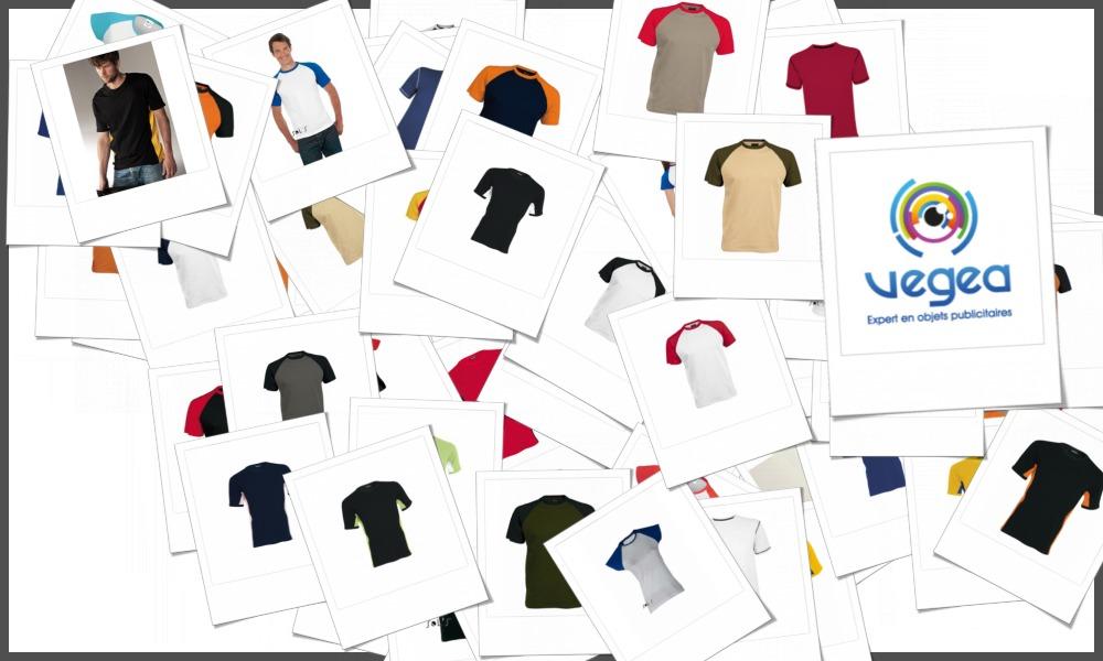 Tee-shirts bicolores personnalisables à votre effigie avec un logo, un texte ou une image | Grossiste et fabrication d'objets publicitaires et cadeaux d'entreprise