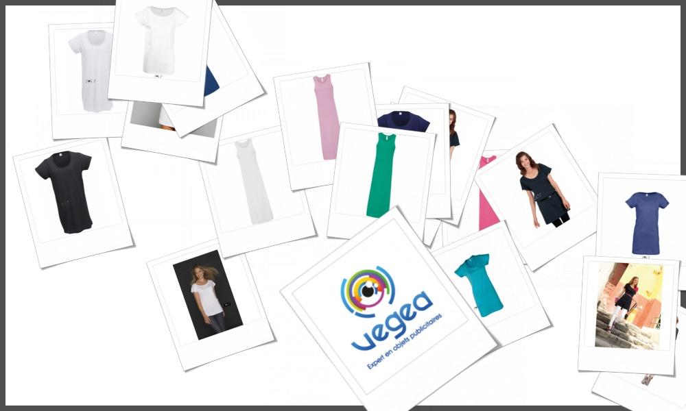 Tee-shirts robes ou tee-shirts tuniques personnalisables à votre effigie avec un logo, un texte ou une image | Grossiste et fabrication d'objets publicitaires et cadeaux d'entreprise