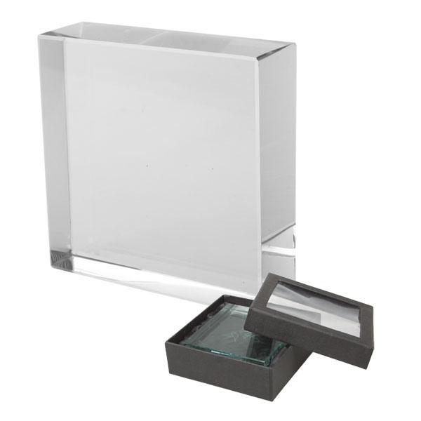 Blocs de verre presse-papiers avec gravure 3D avec logo