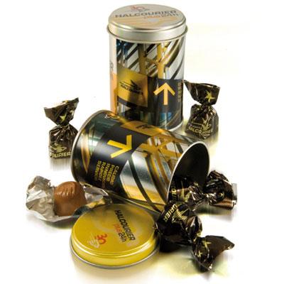 Ballotins et boîtes de chocolats avec logo
