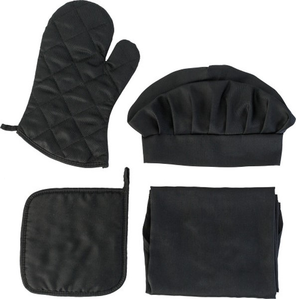 ensemble cuisine avec toque gant manique et tablier personnalisable 00028v0090507 partir. Black Bedroom Furniture Sets. Home Design Ideas