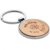 Porte-clés rond bambou et métal