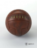 Ballon football logoté old school cuir véritable