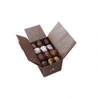 Ballotin 32 truffes assorties Papier camel et ruban brun