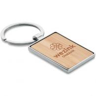 Porte-clés rectangle bambou et métal