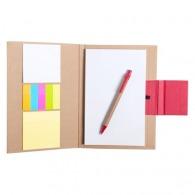 Bloc-notes personnalisable A5 en carton recyclé avec bloc repositionnable, stylo et marque-pages