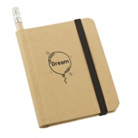 Ecological notepad made of recycled paper with hard cover eraser pencil