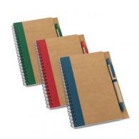 Bloc-notes écologique en papier recyclé avec stylo à couverture rigide
