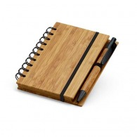 Bloc-notes en bambou avec stylo à couverture rigide