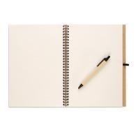 Bloc-notes recyclé 100 pages avec stylo biodégradable à couverture rigide