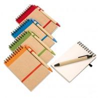 Bloc-notes personnalisé recyclé à spirales avec stylo