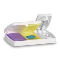 Boîte à comprimés avec coupe-pilule