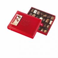 Boîte cuir rouge garnie 28 chocolats assortis
