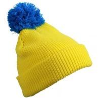 Bonnet personnalisable tricot à pompon bicolore