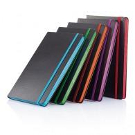 Carnet personnalisable de notes A5 noir avec bord coloré à couverture rigide