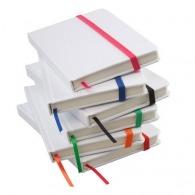 Carnet publicitaire de notes blanc avec élastique en couleur à couverture rigide