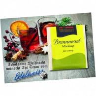 La tarjeta a6 con la bolsa de té