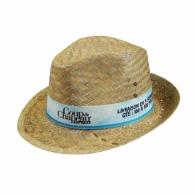Chapeau de paille publicitaire type borsalino