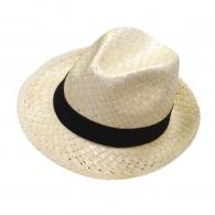 Chapeau en paille personnalisable type borsalino