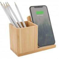 Chargeur sans fil en bambou 5w avec porte-crayons