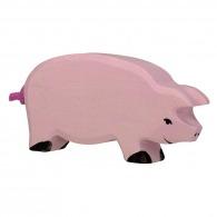 Cochon logoté en bois 12cm