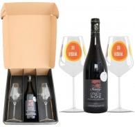 Coffret vin et verres - côtes du rhône