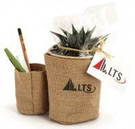Double pots en jute avec plante publicitaire