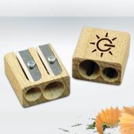 Double taille-crayons personnalisable en bois certifié durable