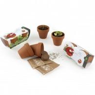 Pots et semences de plantes fleurs et arbres avec logo