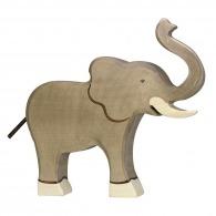 Eléphant en bois trompe haute