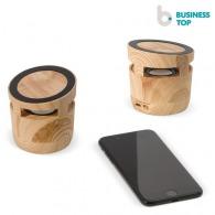 Enceinte publicitaire en bois avec chargeur sans fil