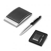 Ensemble stylo et porte-cartes publicitaire