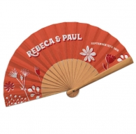 Natural wood fan with fabric