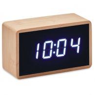 Horloge logotée à LED en bambou
