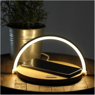 Bedside lamp with wireless charger