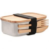 Lunchbox métal et bambou avec couverts