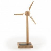 Mini eolienne bois 17 cm panneau solaire sur socle