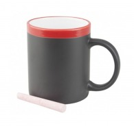 Mug ardoise publicitaire bicolore avec une craie