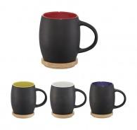 Mug céramique en tonneau noir mat bicolore de 40 cl