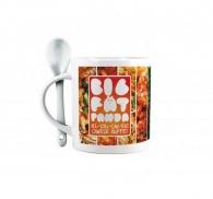 Mug céramique avec cuillère imprimé en quadri (photo) par sublimation