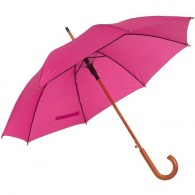 Automatic wooden umbrella with swan neck handle