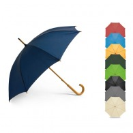 Parapluie canne avec manche et poignée en bois courbée