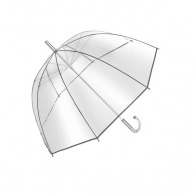 Transparent bell umbrella with swan neck handle