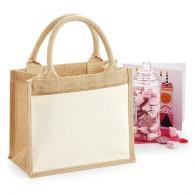 Petit sac publicitaire shopping en toile de jute 22x26x14cm