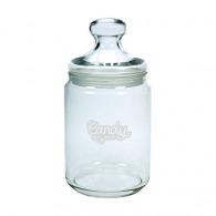 Small round glass candy jar 1L