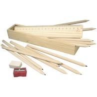 Plumier en bois avec crayons de couleur personnalisables