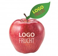 Pomme avec logo et étiquette