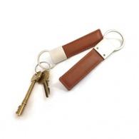 Porte clé rectangulaire en cuir