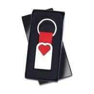 Porte-clef coeur en métal Bonheur